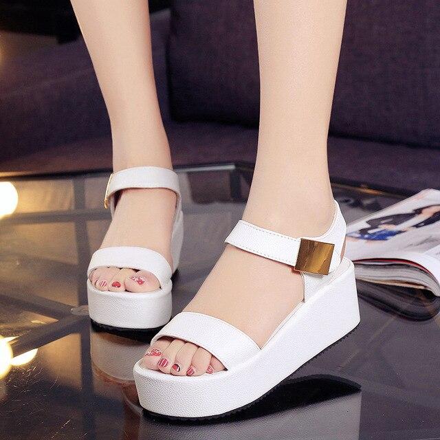 e679bd711cb Summer Platform Wedges Sandals Fashion Women s Shoes Korea Style Ladies  Flat Sandals Dress Shoes Black White Shoes
