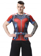 Red Plume Men's Compression Shirt, Ant-man Short Sleeve Sports T-shirt