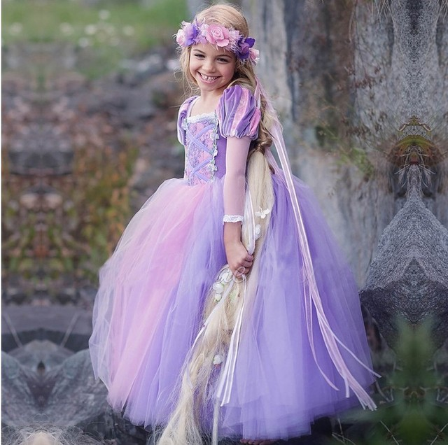 2018 Summer Floral Princess Role Play Clothing For Kids Girl Dresses 4 10 Years