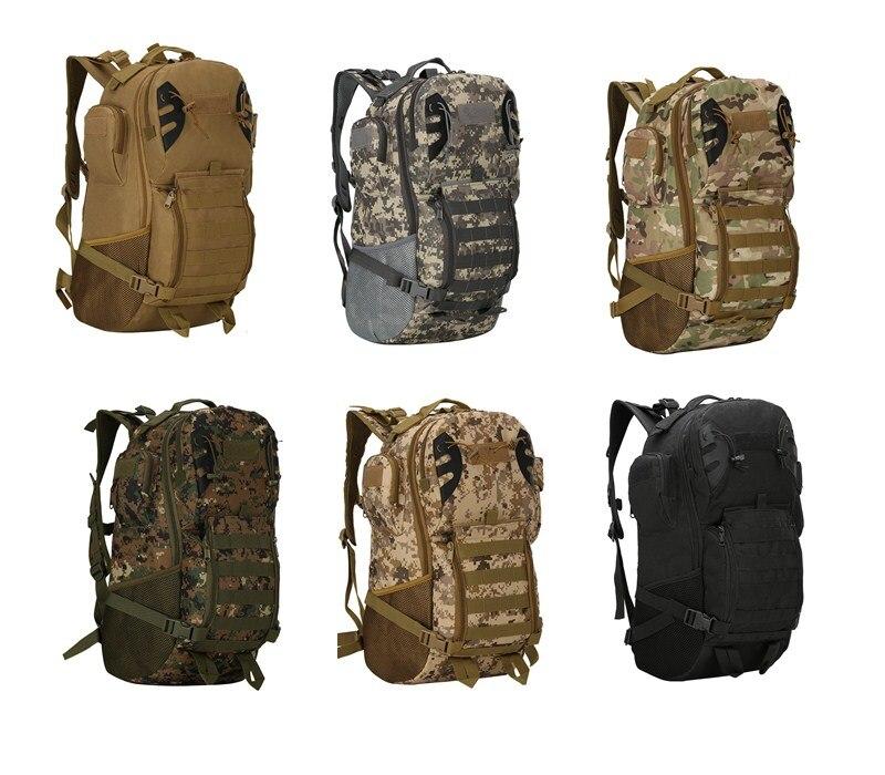Spor ve Eğlence'ten Tırmanma Çantaları'de 1 adet 45L Kapasiteli 800D Oxford Askeri Taktik Dağcılık tırmanma sırt çantası Camo Trekking Yürüyüş Kamp sırt çantası title=