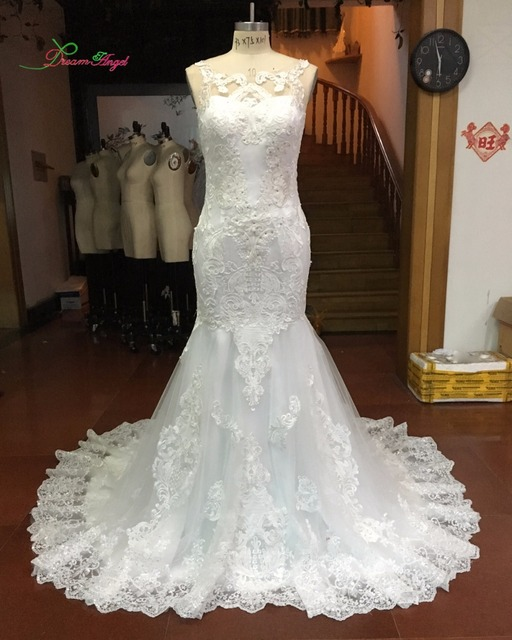 Trumpet Style Wedding Gowns: Dream Angel Sexy Illusion Lace Mermaid Wedding Dresses