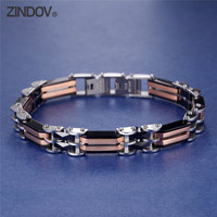 316L Stainless Steel Mens Bracelets IP Rose Gold Silver Tone High Polished Black Ceramic Male Trendy