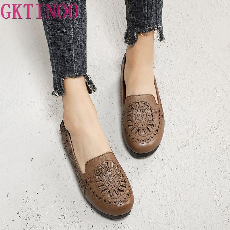 GKTINOO Hollow Out Summer Shoes For Women Soft Floral Lady Flat Shoes Genuine Cowhide Leather Round Toe New Female Flats BrownGKTINOO Hollow Out Summer Shoes For Women Soft Floral Lady Flat Shoes Genuine Cowhide Leather Round Toe New Female Flats Brown