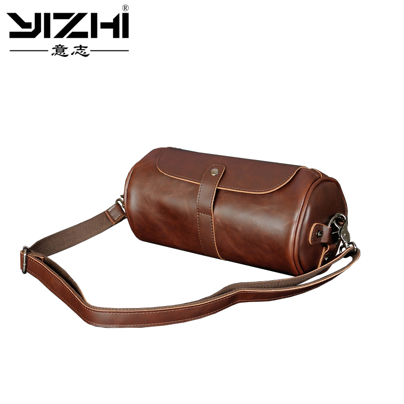 c99083e1acbf YIZHI Real Brand Hot Sale New Fashion Men Bags Small Shoulder Bag  Cylindrical Shape Men Messenger