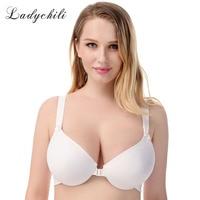 Ladychili Women Intimates Brief Style White Color Front Closure Bra Seamless Comfort Bra Underwire Support Thin