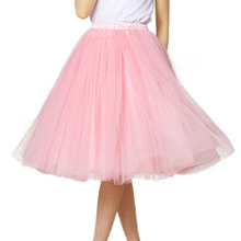 Free Shipping 7 Layer Custom Made New Tutu Tulle Skirts Midi skirt Women Fashion Party Design saias femininas formal Pink