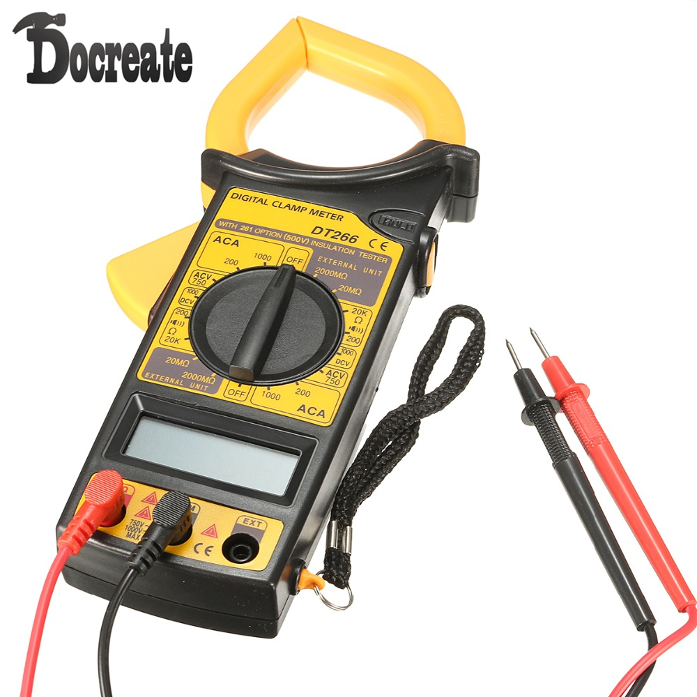 DT266 Electronic Digital Clamp Meter Multimeter AC DC Current Voltage Tester Tool high quality mt87 lcd auto digital multimeter electronic voltage tester ac dc clamp transistor meter diagnostic tool