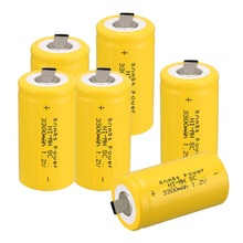 Anmas Power 1-6pcs Yellow Color 1.2V 3300mAh SC NI-MH Rechargeable Battery NI-MH Sub C Rechargeable Battery Cell цена в Москве и Питере