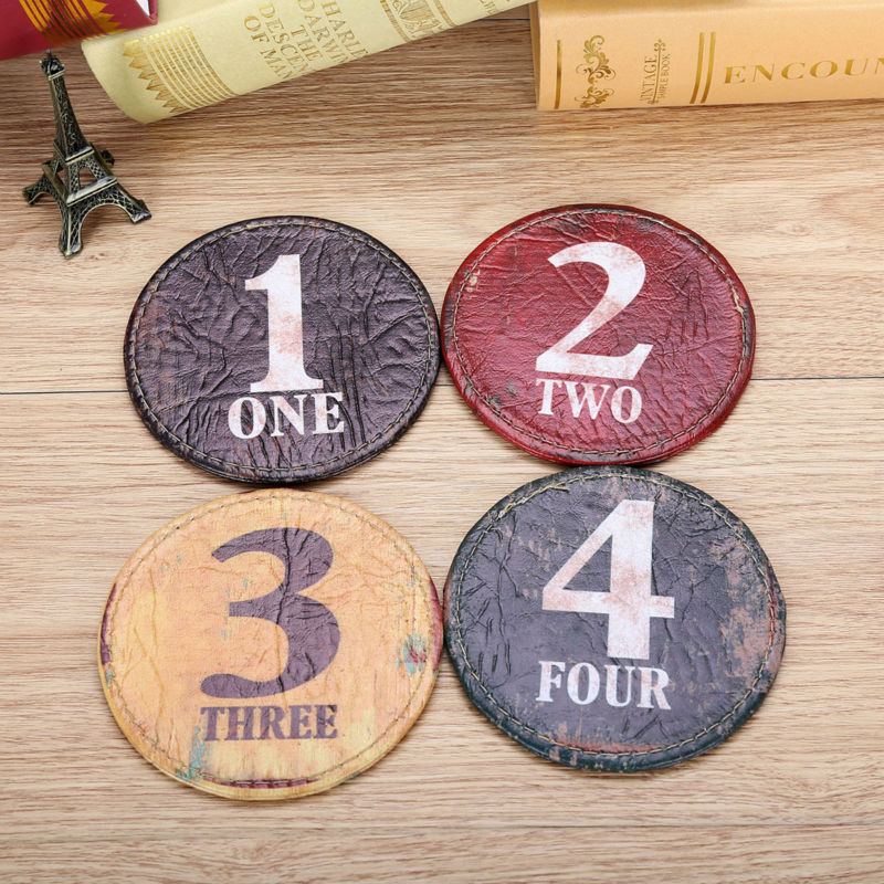 LINKWELL Set of 4 10x10cm Vintage Number Black One Figure Round Kitchen Tabletop Bar Coaster Table Cup Holder Drink Placemat Mat ...