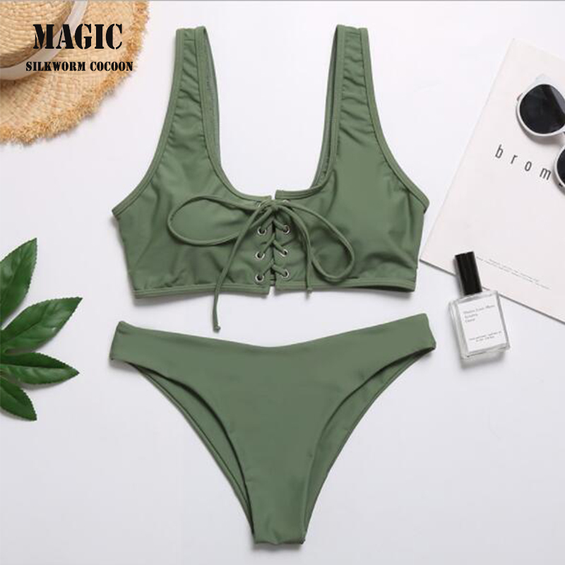 Sexy Bandage Bikini Set Army Green Adjustable Strap Push Up Swimwear Women Swimsuit Swimming Bathing Suit Beachwear Biquini