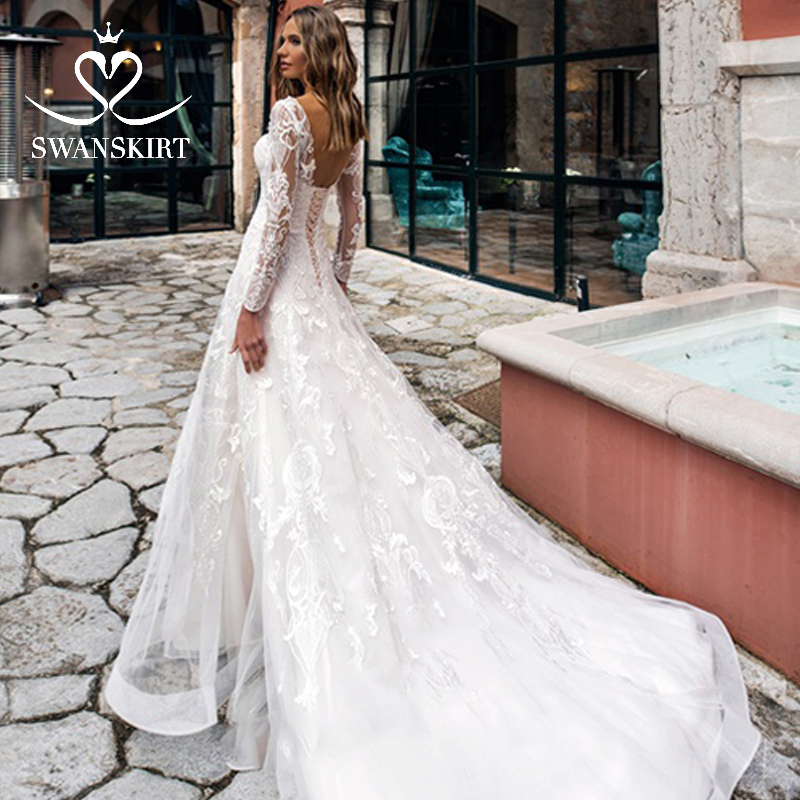 Swanskirt Vintage Sweetheart Lace Up Wedding Dress 2019 Fashion Appliques Long Sleeve Princess Bride Gown Vestido De Noiva K174