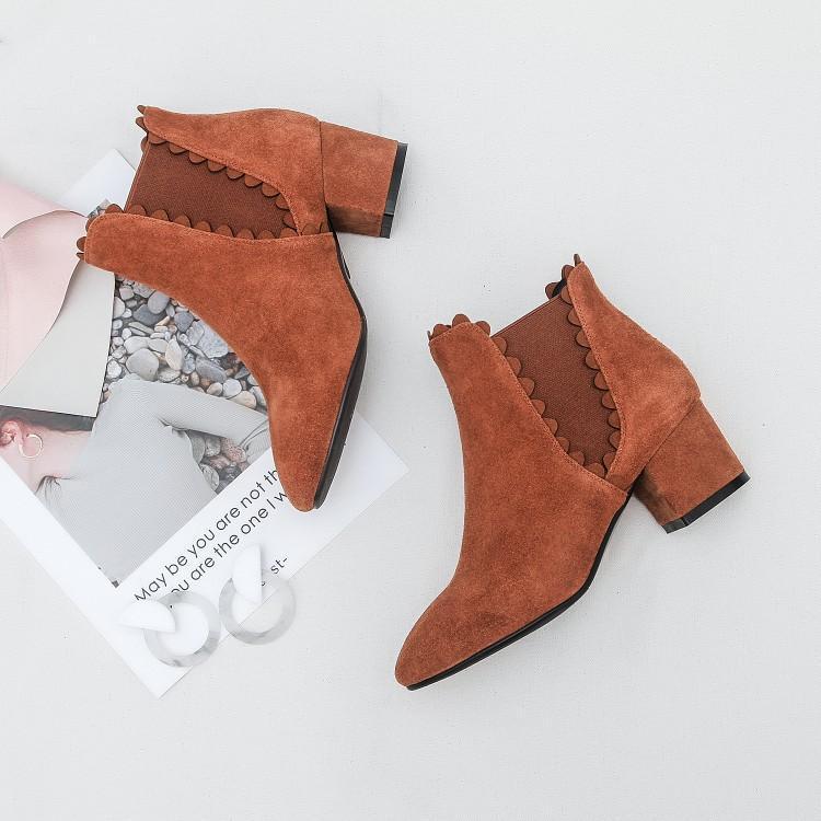 Cheville Rond Dames rose En orange Chaussures Noir Femmes Slip Brown Chelsea Talon Chaussons Bottes Concise Sur Cuir Bout Chunky Pour Rose Noir Suede 4YP6nCq