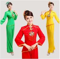 women sequined yangko dance costumes red\green\yellow long sleeves fan waist drum Middle aged group national square dance