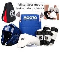 8pcs Taekwondo Protectors full suit Child adult red blue chest guards Forearm shin protector groin guard Taekwondo helmet
