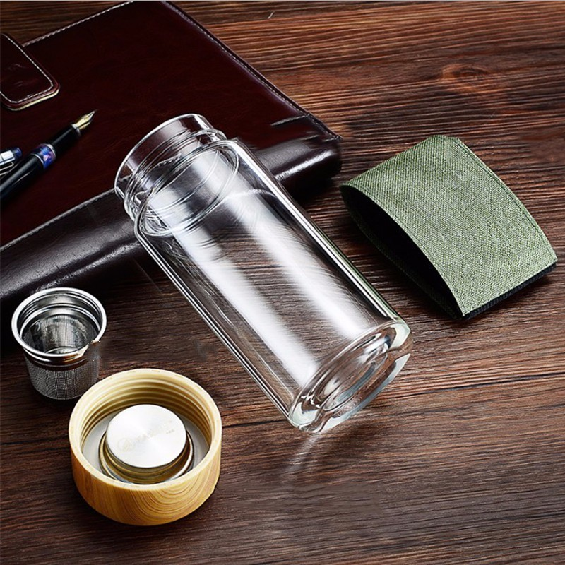 400ml Glass Water Bottles With Stainless Steel Filter 4