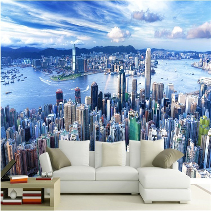 New Design Texture Wallpaper 3D Stereo Blue Sky City Building Landscape Photo Mural Dining Room Living Room Sofa Backdrop Walls
