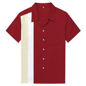Image 3 - Charlie Harper koszula w paski w pionowe paski koszule dla mężczyzn 50s Rockabilly guzik do koszuli w dół bawełniane koszule z krótkim rękawem w stylu Vintage sukienka
