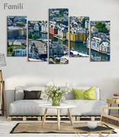 5pcs Norway Mountains Houses Sky Clouds Trees Bay Sea Beautiful Living Room Home Art Decor Wood