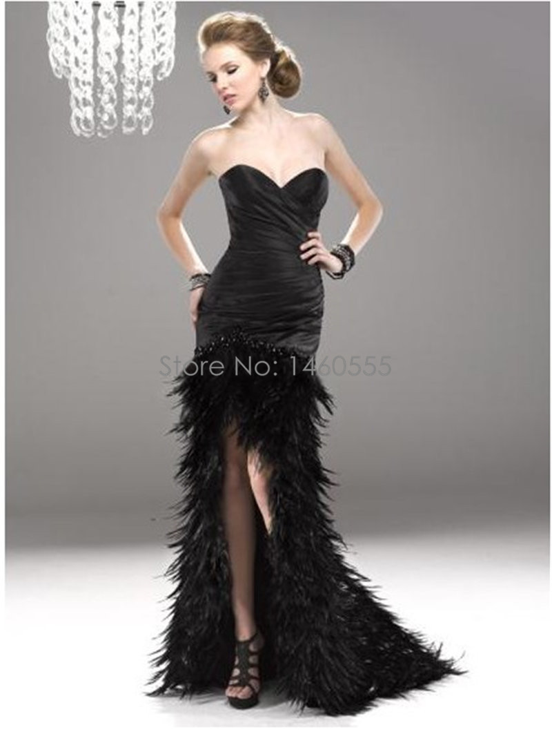 Aliexpress.com : Buy Black feather dress mermaid sweetheart sexy ...