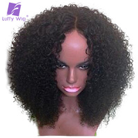 Luffy Kinky Curly 5*4.5 Silk Base Full Lace Wigs With Baby Hair Pre Plucked Brazilian Human Hair 14 24'' 130% Density Non remy