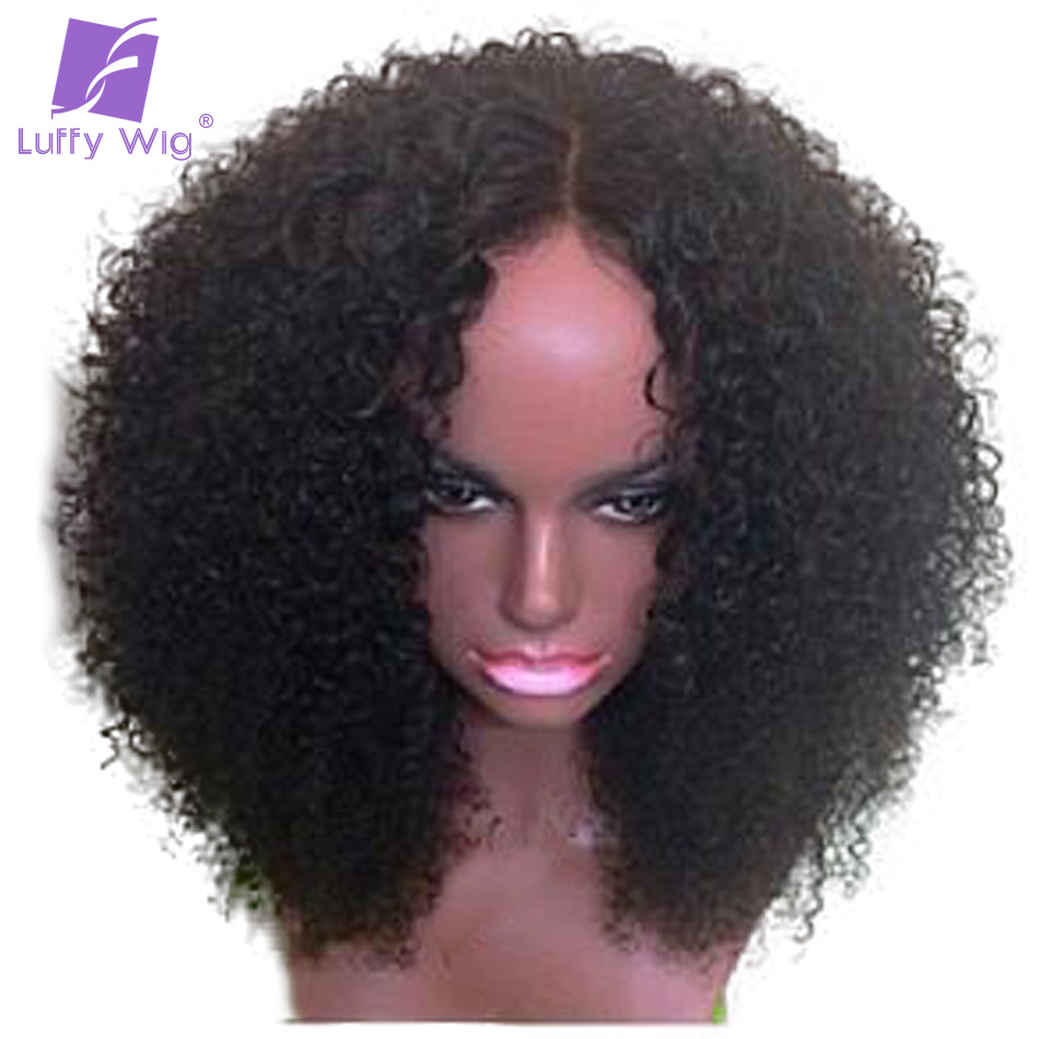 Luffy Kinky Curly 5*4.5 Silk Base Full Lace Wigs With Baby Hair Pre Plucked Brazilian Human Hair 14-24'' 130% Density Non-remy