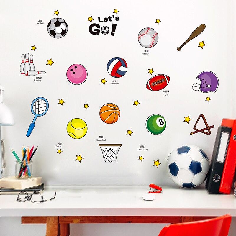 Boys Sports Baseball Football Basketball Baby Childrens Room Cartoon Wall Stickers Bedroom Living Tennis Classroom Stickers
