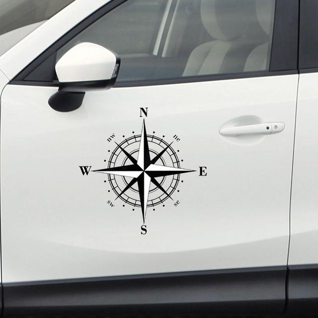 15cm*15cm Cartoon Art Design Vinyl Compass Car Stickers Decals Automobiles Exterior Decor