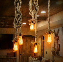 Vintage Rope Pendant Lights Lamp Loft Creative Personality Industrial Lamp Edison Bulb American Style For Living Room decoration