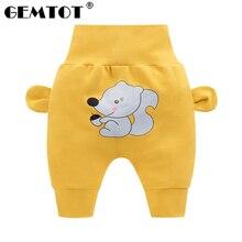 GEMTOT/штаны для малышей коллекция года, новые штаны для малышей на весну и осень штаны с рисунком из мультфильма для мальчиков и девочек дизайнерские штаны с высокой талией