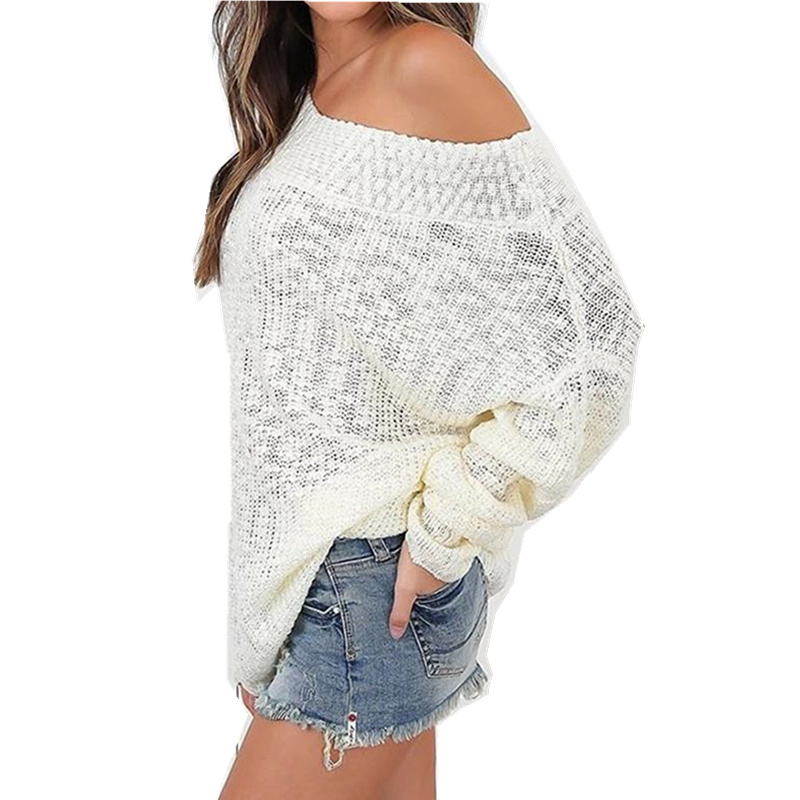Knitted Women Sweater Long Sleeve One Off The Shoulder Oversize Tops Tunic Knit Womnes Sweaters Large Size 2XL THIN WS2349Z