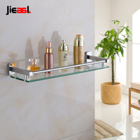Jieshalang Brass Chrome Bathroom Shelf Glass Single Tier Cosmetic Rack Chrome Plated High Type Mount Eall Bathroom Shelves
