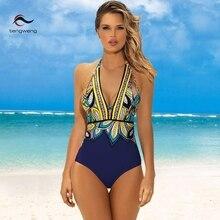 цена на Plus Size Swimwear 2019 Sexy One Piece Swimsuit Push Up Beach Wear Print Bathing Suit Backless Monokini Maillot de bain femme