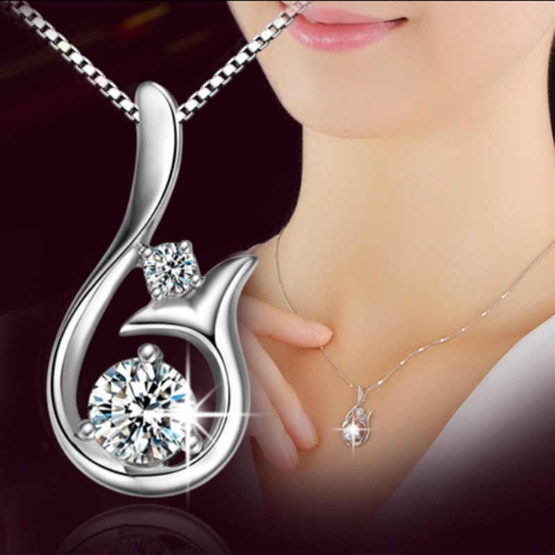 ของขวัญสำหรับหญิง 925 เงินสเตอร์ลิง Mermaid Charms Clavicle เกาหลีแฟชั่นพราว Cubic Zirconia จี้