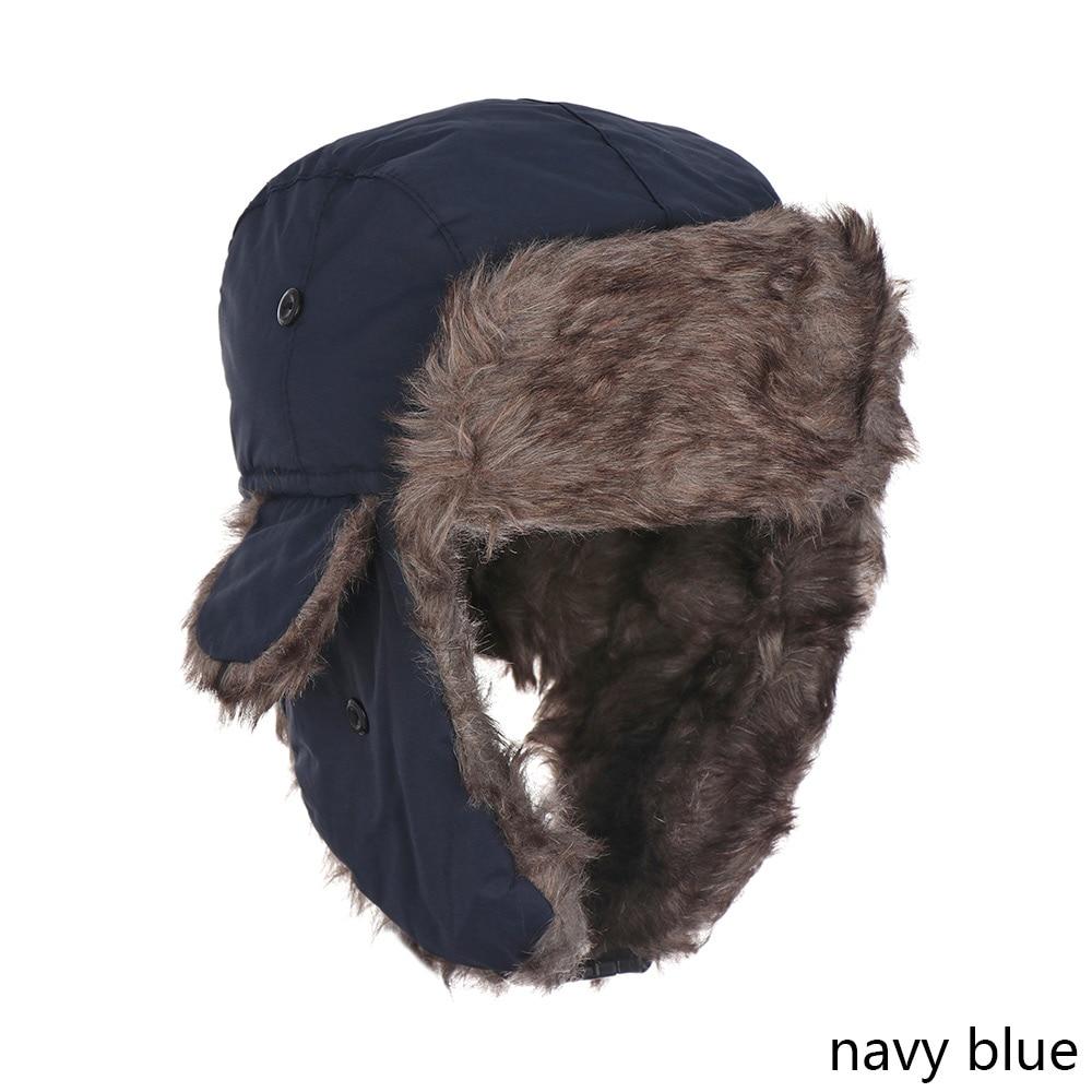 Men Pilot Trapper Cap Winter Warm Trooper Earflap Russian Ski Snow Hat Faux Rabbit Fur Bomber Unisex Sports Hats