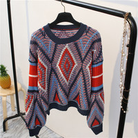 Ky&Q Autumn Winter Casual Short Sweaters Pullovers Women 2017 European Style row type Striped Printed Female Girl Tops Jumper