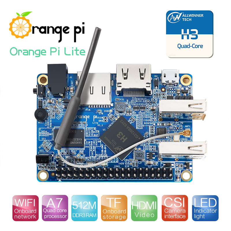 Orange Pi Lite 512MB DDR3 with Quad Core 1.2GHz WiFi antenna Support Android