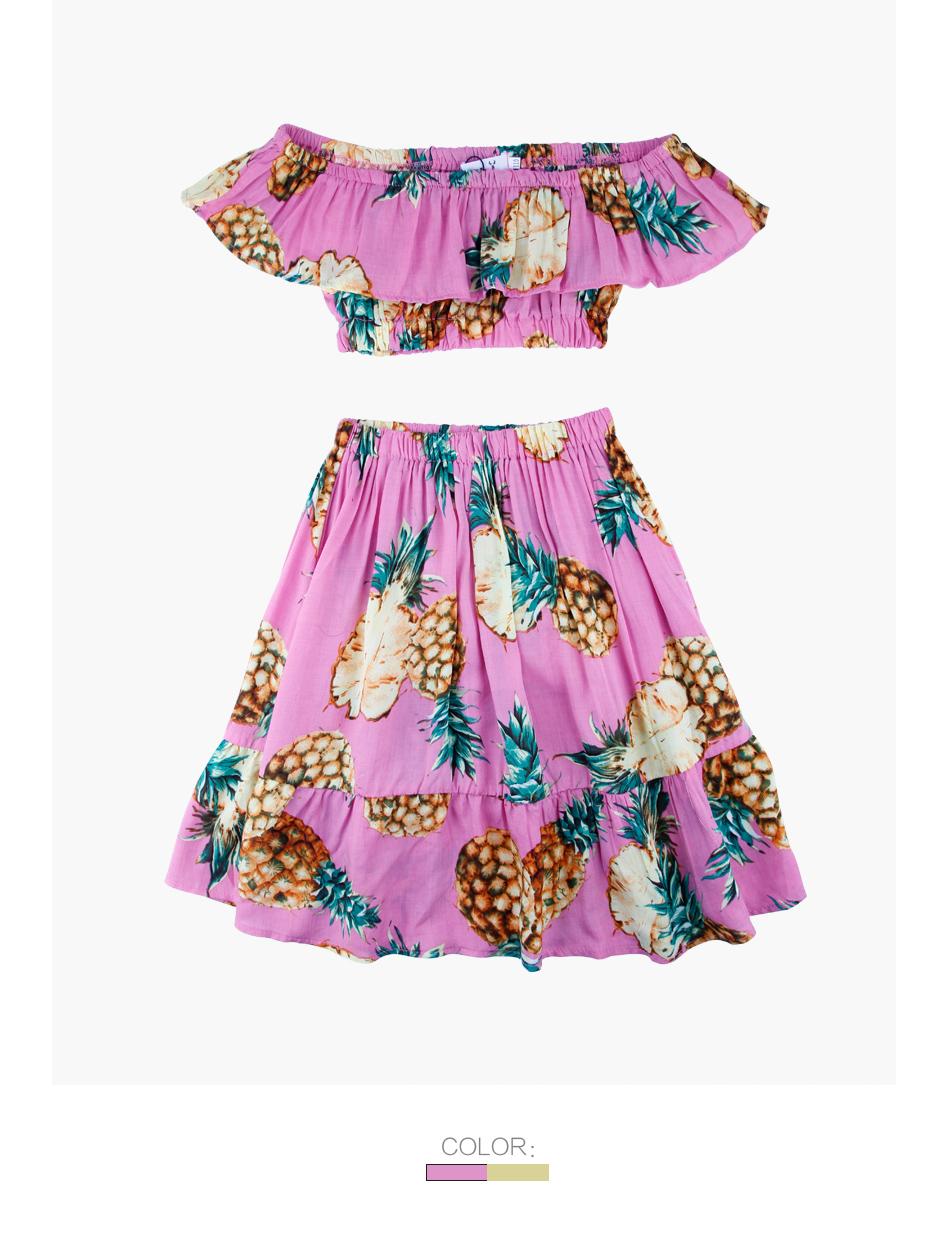 HTB1PyL7peuSBuNjSsplq6ze8pXa2 - 2 PCS/Set Summer Baby Girls Clothing Set Pineapple Print Off Shoulder Top+Skirt Ruffle Girls Dress Beach Sundress Robe Fille