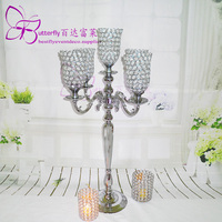 80cm Tall tulip Wedding Candelabra With 5 Arm Votives And Crystals Centerpieses