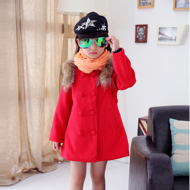 Girls clothing tela roja del niño de los niños de invierno abrigos niños hombros collares princesa larga de algodón abrigo de piel rosa roja rojo