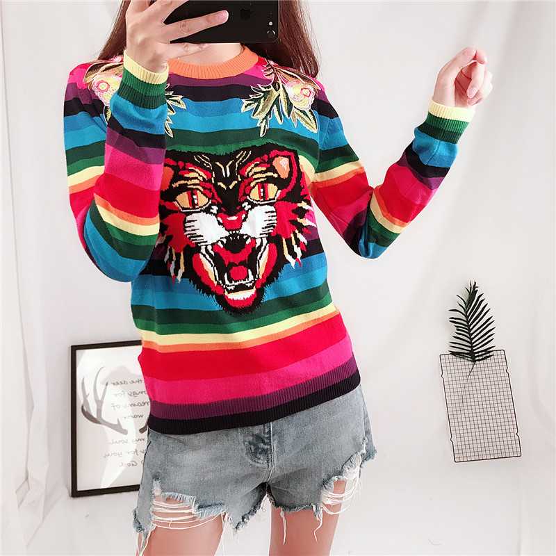 Image 2 - Brand Design Tiger Jacquard Rainbow color Striped Jumper Winter 