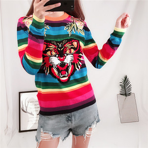 Image 2 - Brand Design Tiger Jacquard Rainbow color Striped Jumper Winter Spring Letter Embroidery Women Sweater Pullover Knit Top  C 349