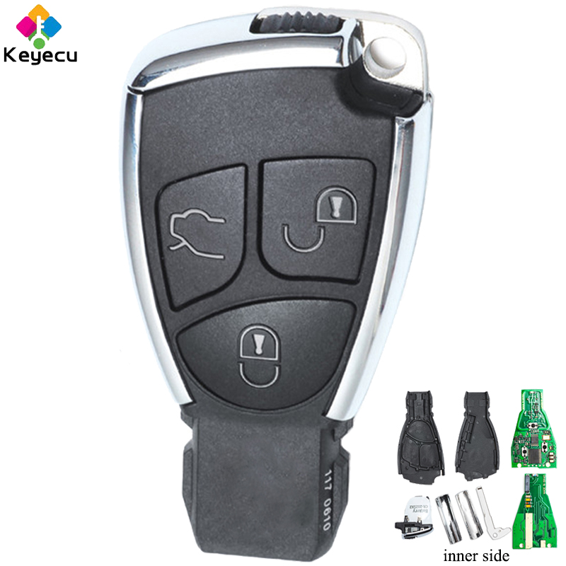 KEYECU Replacement Smart Remote Key Fob 3 Buttons 433MHz Uncut Blade FOB for Mercedes Benz