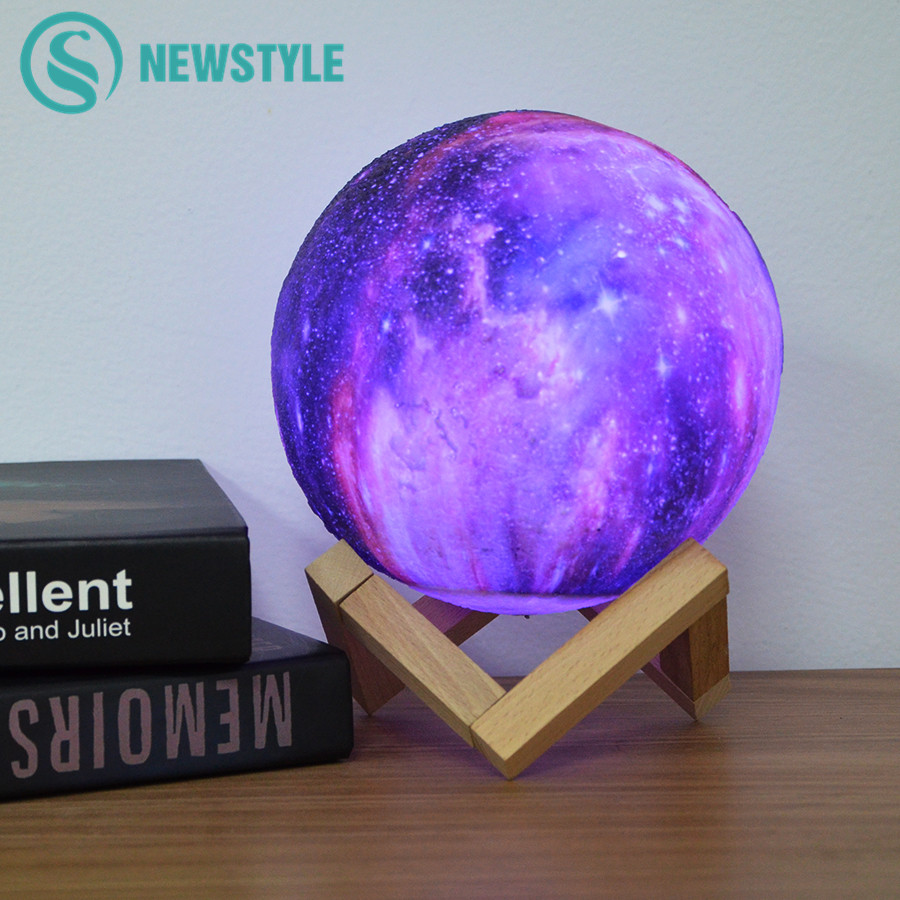 Dropship 3D Print Star Moon Lamp Colorful Change Starry Sky LED Night Light Touch USB Home Decor Galaxy Lamp Creative Gift 3d printed starry sky planet lamp moon lamp color touch changeable led night light galaxy lamp bedroom decor creative gift 15cm