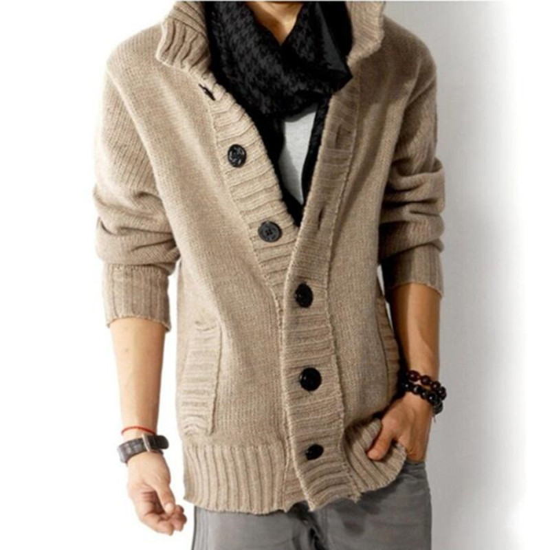 2018 autumn and winter fashion new men's casual thick warm sweater / Men's Cardigan Single Breasted Sweater Coat