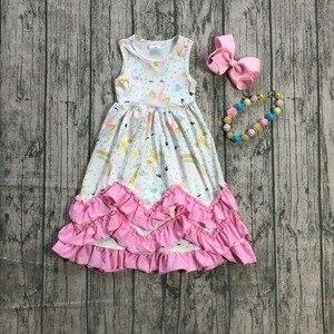 Image 3 - Novedad de verano, vestido maxi de algodón para niñas, color menta, floral, rosa, unicornio, azul sólido, volantes, sin mangas, collar y lazo