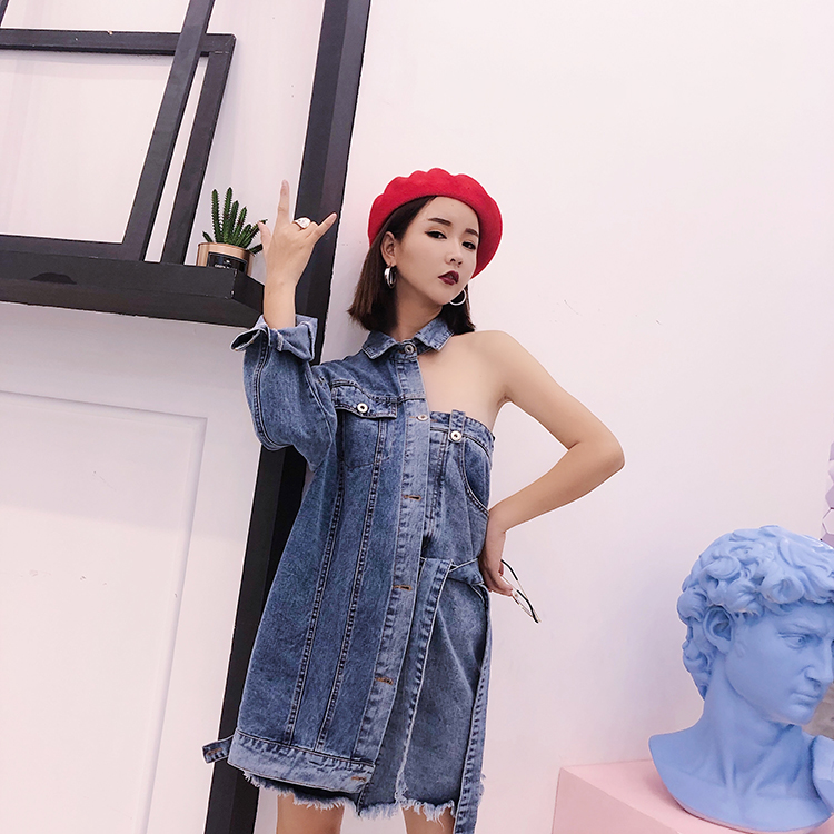 Women High Stret One Shoulder Denim Coat Faux 2pcs Hollow Out Outerwear Novelty Patchwork Long Jacket