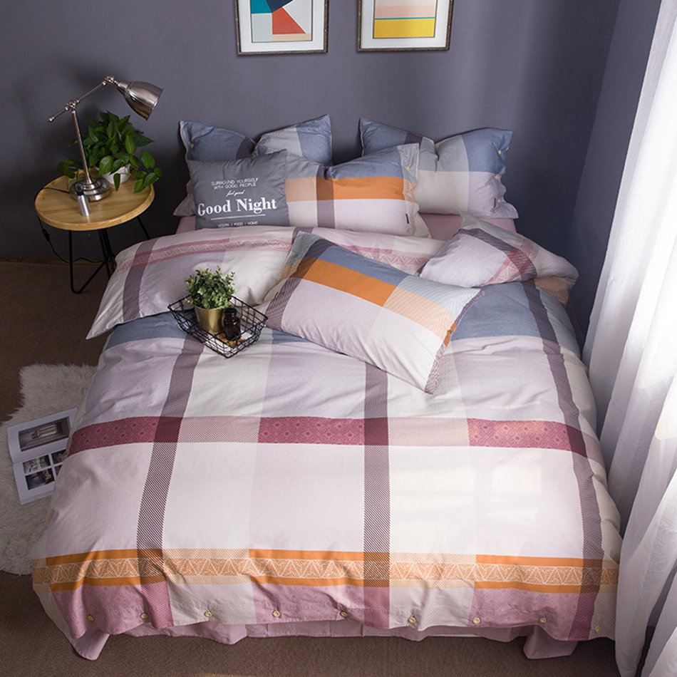 Grid Pattern Duvet Cover Bedding Set