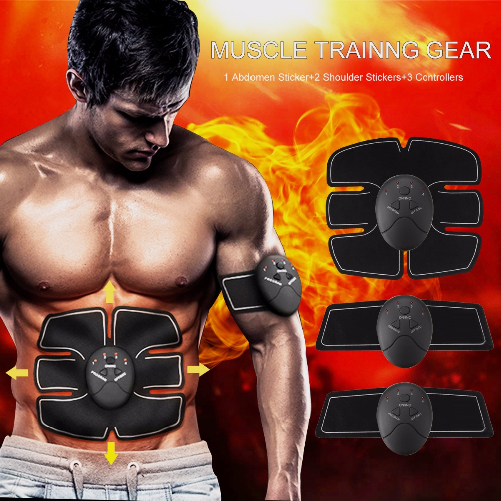 Wireless Smart EMS Electric Abdominal Muscle Trainer ABS Fitness Muscles Stimulator Excerciser Body Massage Machine Women Men 3pcs set wireless intelligent abdominal muscle trainer lacy body massager fitness equipment for home use for women hot sale