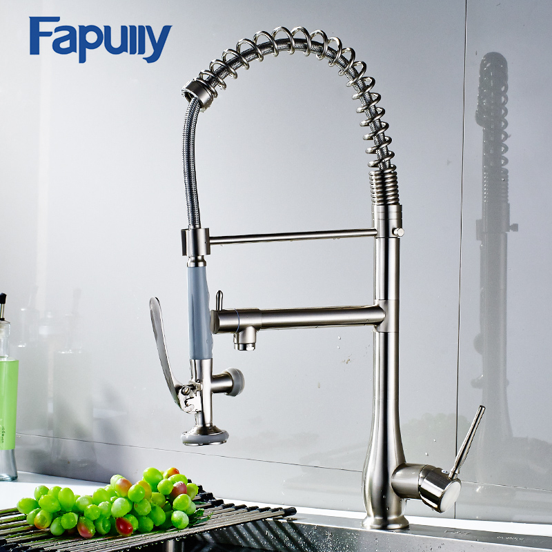 Fapully Kitchen Water Tap Swivel Hot Cold Single Handle Brushed Nickel Commercial Pull Down Kitchen Sink Faucet with Spray