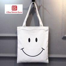 цена на Ladies shoulder canvas bag smiley casual handbag school student book bag fashion travel storage bag